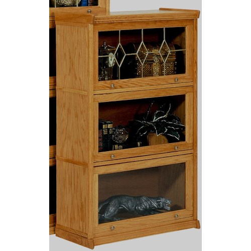 GS Furniture Classic Oak Casual 3 Stack Lawyers Bookcase