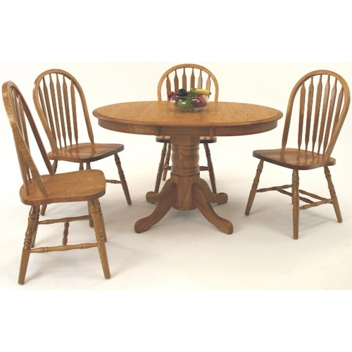 GS Furniture Classic Oak Casual 5 Piece Oval Dining Table with Laminate Top and Chair Set