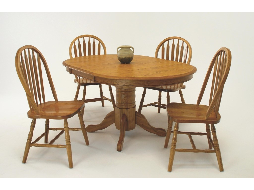 GS Furniture Classic Oak5-Piece Oval Table & Side Chair Set