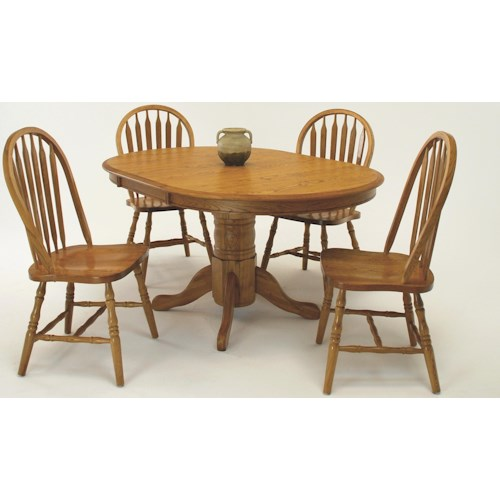 GS Furniture Classic Oak Casual 5 Piece Wide Oval Dining Table with Laminate Top and Chair Set