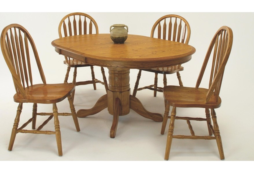 Gs Furniture Classic Oak Casual 5 Piece Wide Oval Dining Table With Laminate Top And Chair Set A1 Furniture Mattress Dining 5 Piece Sets