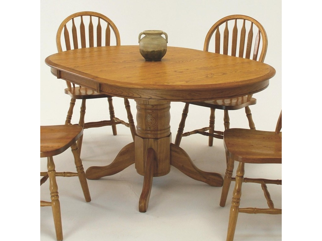 GS Furniture Classic OakOval Dining Table with 18