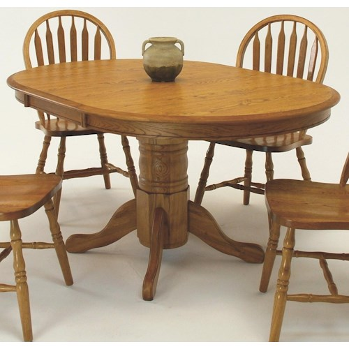GS Furniture Classic Oak Oval Pedestal Dining Table with 18