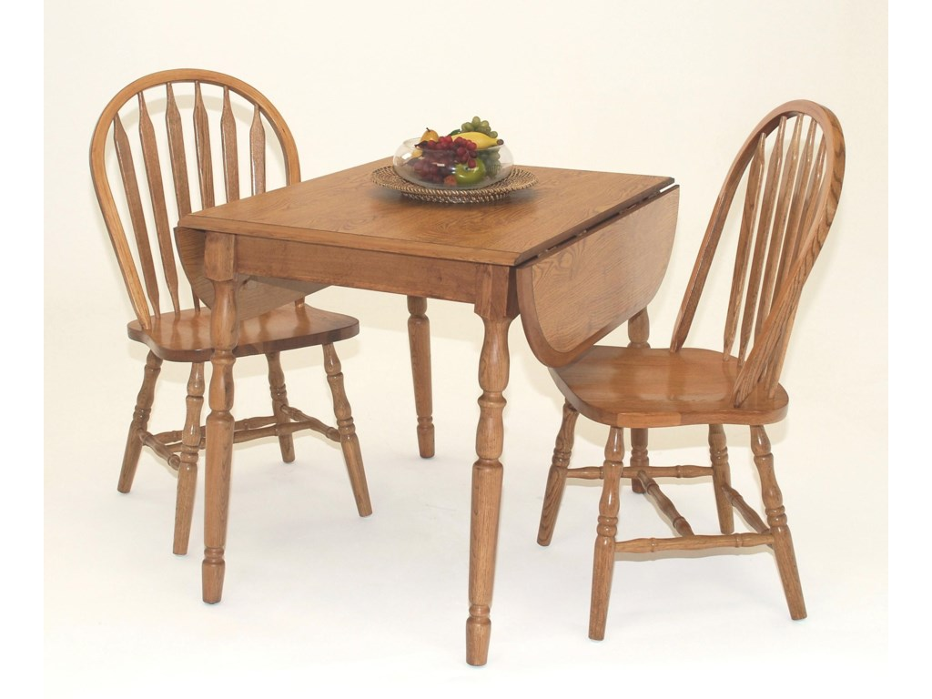 GS Furniture Classic Oak3-Piece Dropleaf Table & Side Chair Set