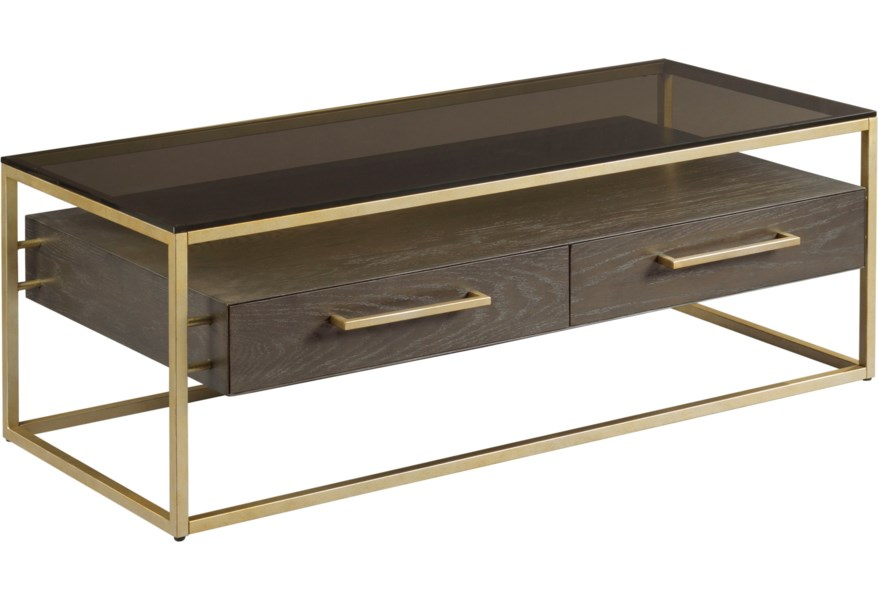 Hammary Essence Two Drawer Cocktail Table With Glass Top