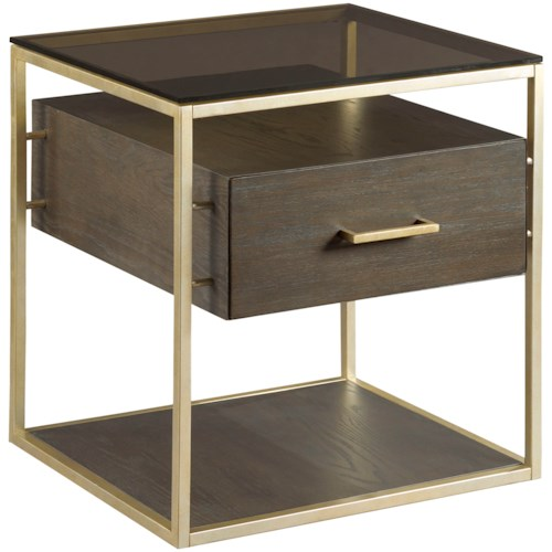 Hammary Essence End Table with Shelves with Glass Top