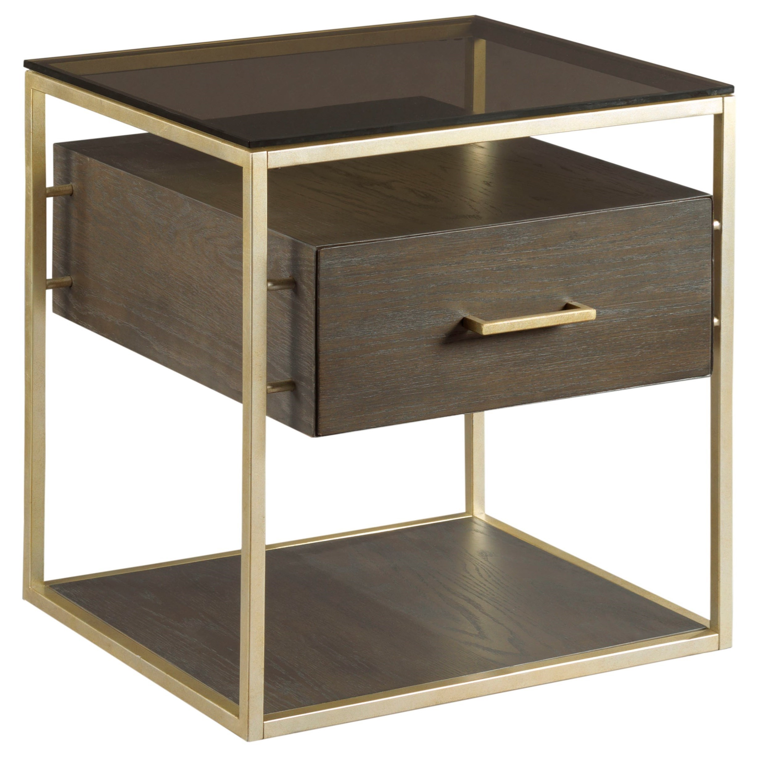 Hammary Essence End Table With Shelves With Glass Top   Adcock Furniture   End  Tables
