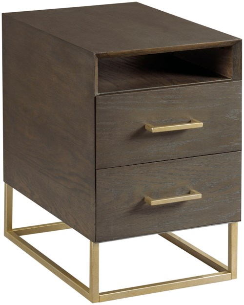 Hammary Essence Charging Chairside Table with Shelf & 2 Drawers