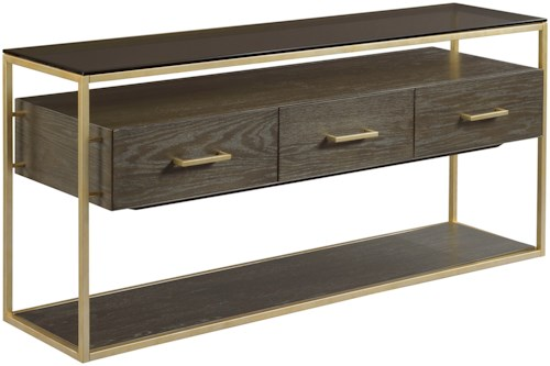 Hammary Essence Three Drawer Sofa Table with Glass Top