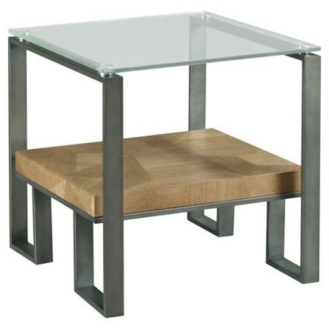 Industrial Rectangular End Table with Glass Top