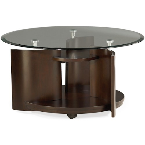 Hammary Apex Glass Top Round Cocktail Table
