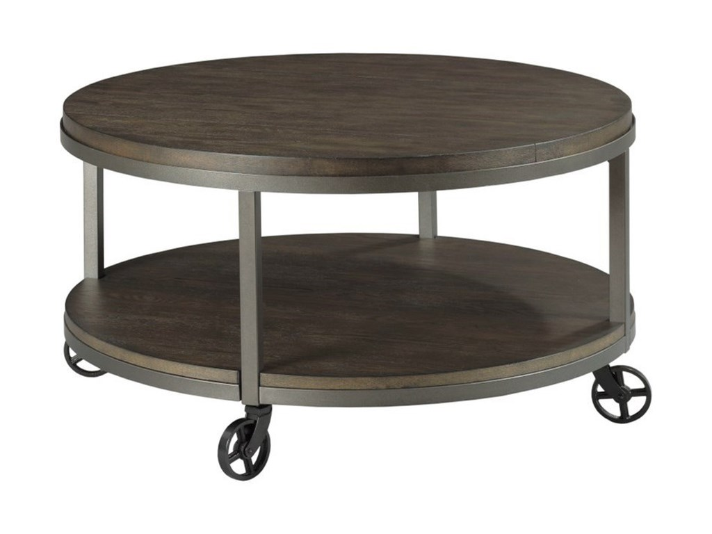 Hammary Baja Ii Round Cocktail Table With Shelf And Wheels Wayside Furniture Cocktail Coffee Tables