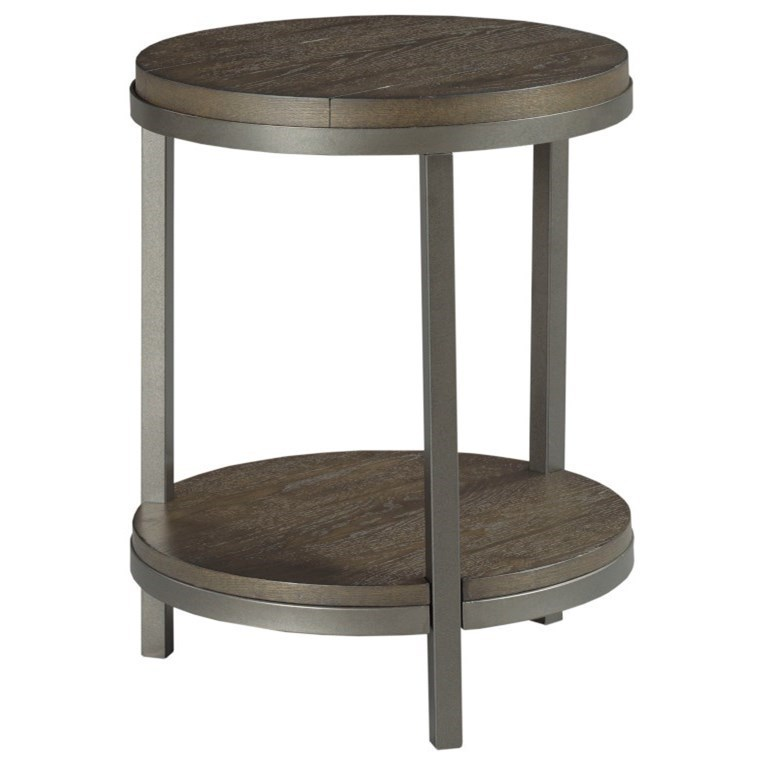 Round End Table with Shelf