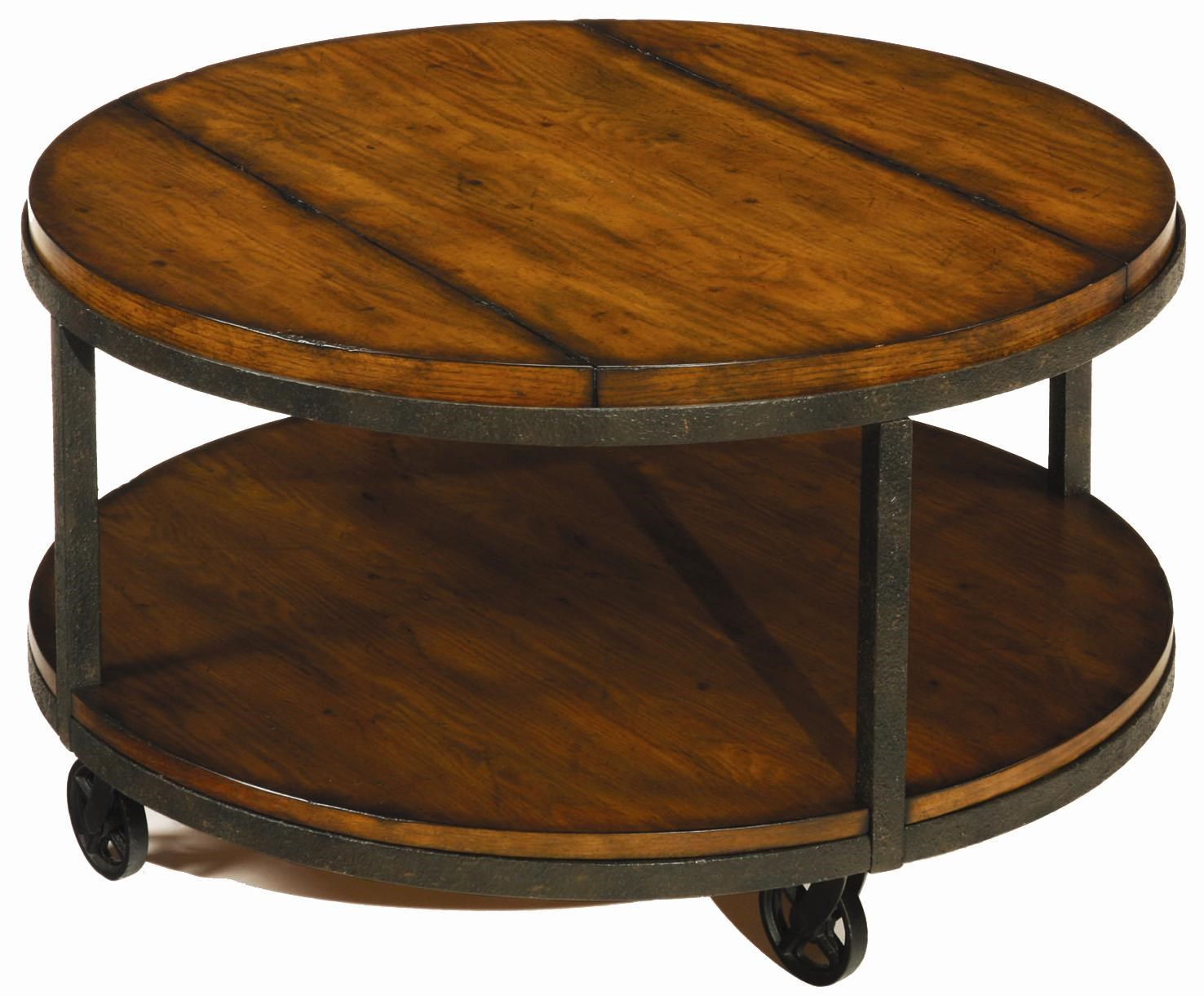 Hammary Baja Round Cocktail Table With Shelf And Wheels