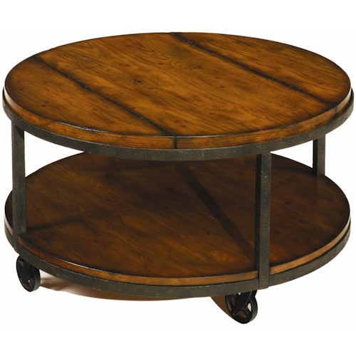 Hammary Baja Round Tail Table With Shelf And Wheels