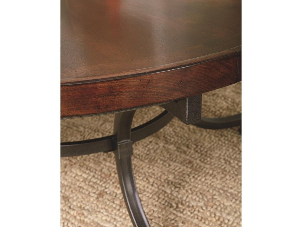 View of Table Wood and Metal Finishes