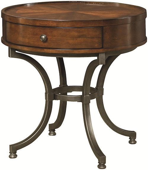 Hammary Barrow Round End Table with 1 Drawer