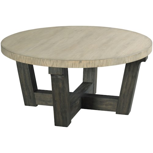 Hammary Beckham Contemporary Round Cocktail Table with Two-Tone Finish