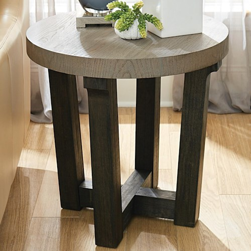 Hammary Beckham Contemporary Round Accent Table With Two Tone Finish