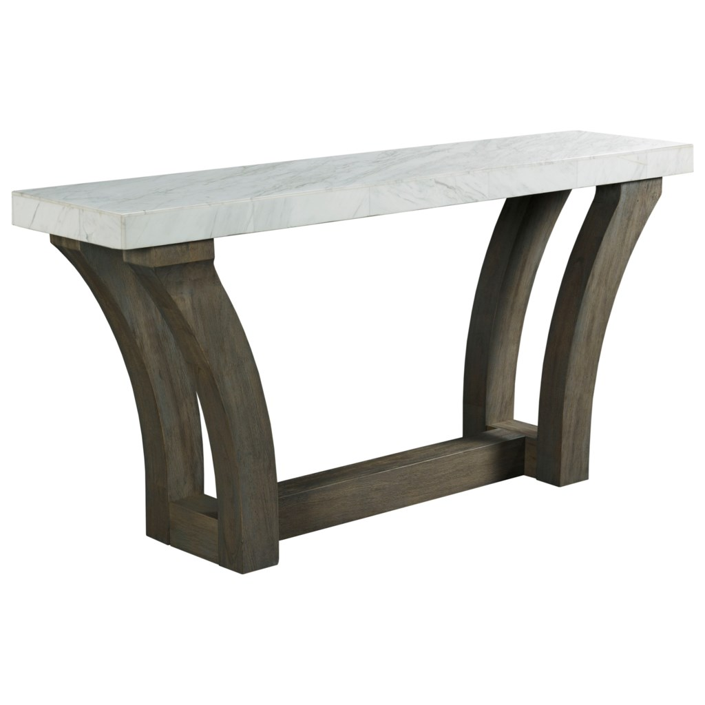 Beckham Contemporary Console Table With White Marble Veneer Top