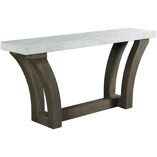 Hammary Beckham Contemporary Console Table with White Marble Veneer Top