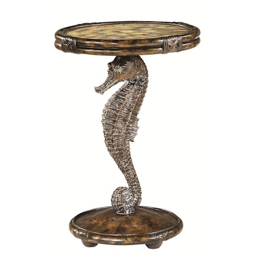 Hammary Boracay Seahorse Pedestal Accent Table with Round Capiz Filled Top