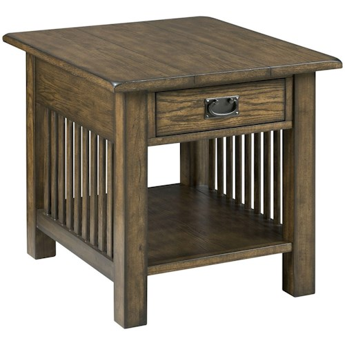 Hammary Canyon II Mission Rectangular End Table with Drawer Storage