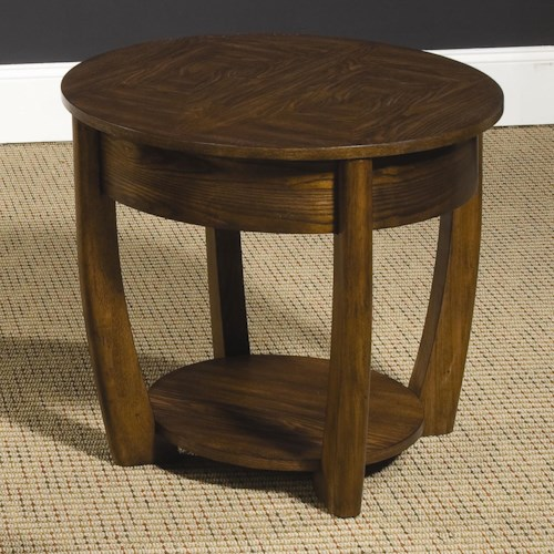 Hammary Concierge Round End Table with Lower Shelf