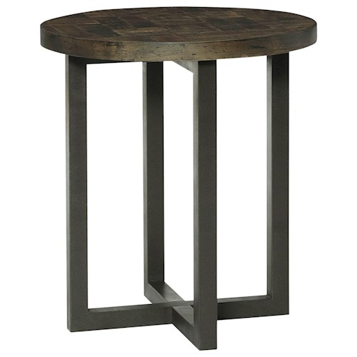 Hammary District Round Accent Table with Metal Base and Wood Top