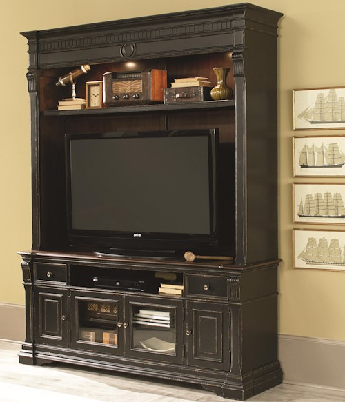 Hammary Dorset Entertainment Console with Hutch and 2 Glass Doors