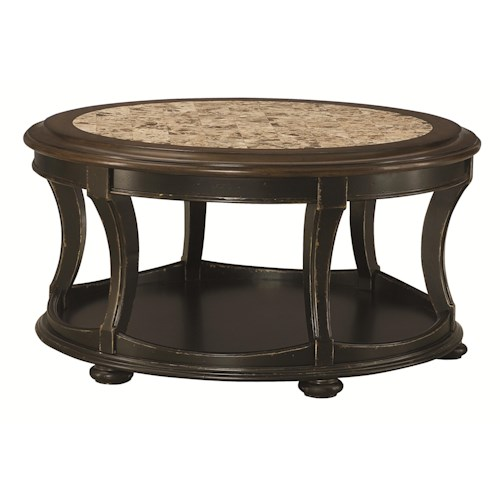 Hammary Dorset Round Cocktail Table with Top Stone Inlay