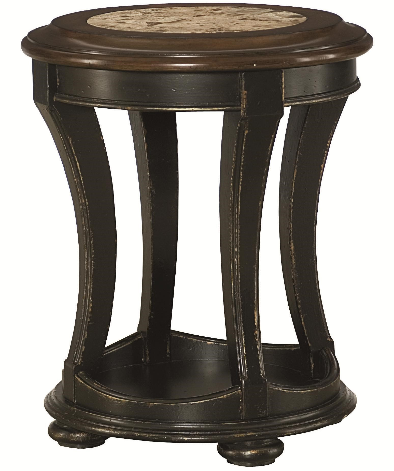 Hammary Dorset Round End Table With Top Stone Inlay