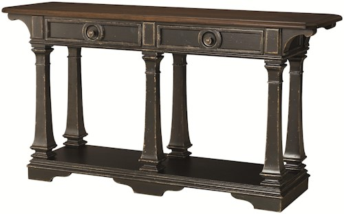 Hammary Dorset Sofa Table with 2 Drawers and 1 Shelf