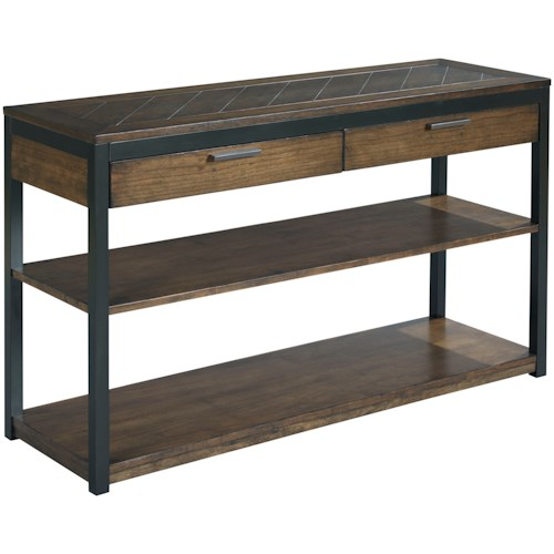 Hammary Franklin Sofa Table with Two Drawers and Two Fixed Shelves