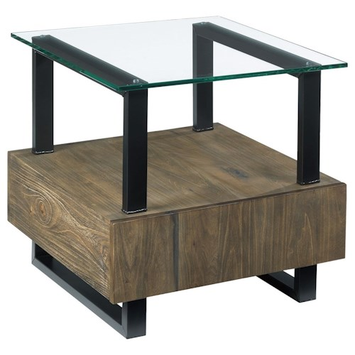 Hammary Fusion Square End Table with Drawer and Glass Top