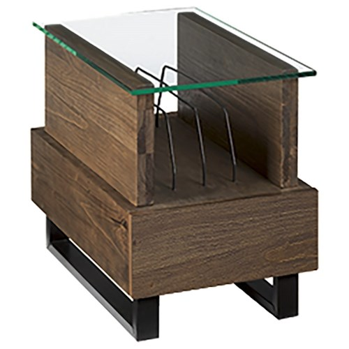 Hammary Fusion Charging Chairside Table with Magazine Rack and USB Port