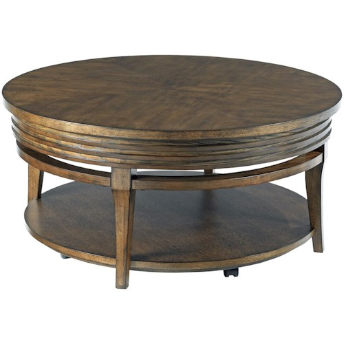 Hammary Groovy Round Cocktail Table with Casters