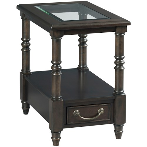 Hammary Hamilton Chairside Table with Drawer and Open Shelf
