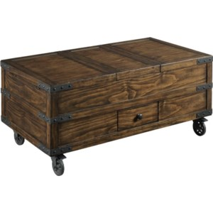Hammary Hidden Treasures Industrial Trunk Coffee Table With Storage Johnny Janosik Cocktail Coffee Tables
