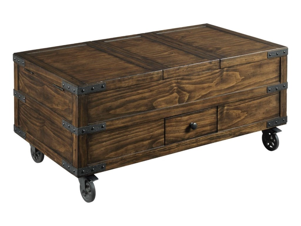 Hammary Hidden Treasures Industrial Trunk Coffee Table With Storage Wayside Furniture Cocktail Coffee Tables