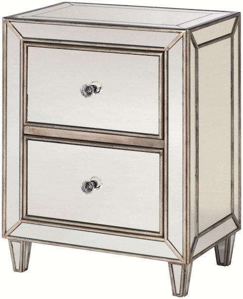 Hammary Hidden Treasures Mirrored 2 Drawer Chest with Crystal Knobs