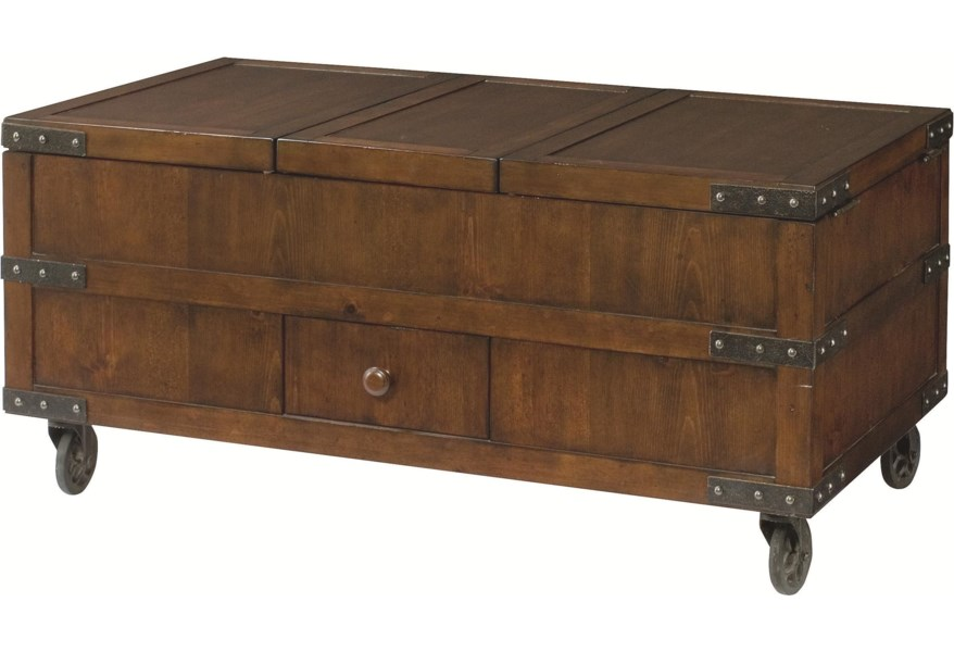 Hammary Hidden Treasures Trunk Cocktail Table With 3 Lift Tops And Storage Underneath Stoney Creek Furniture Cocktail Coffee Tables