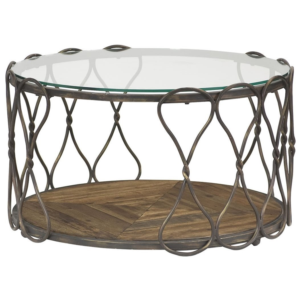 Hammary Hidden Treasures Round Cocktail Table With Tempered Glass Top
