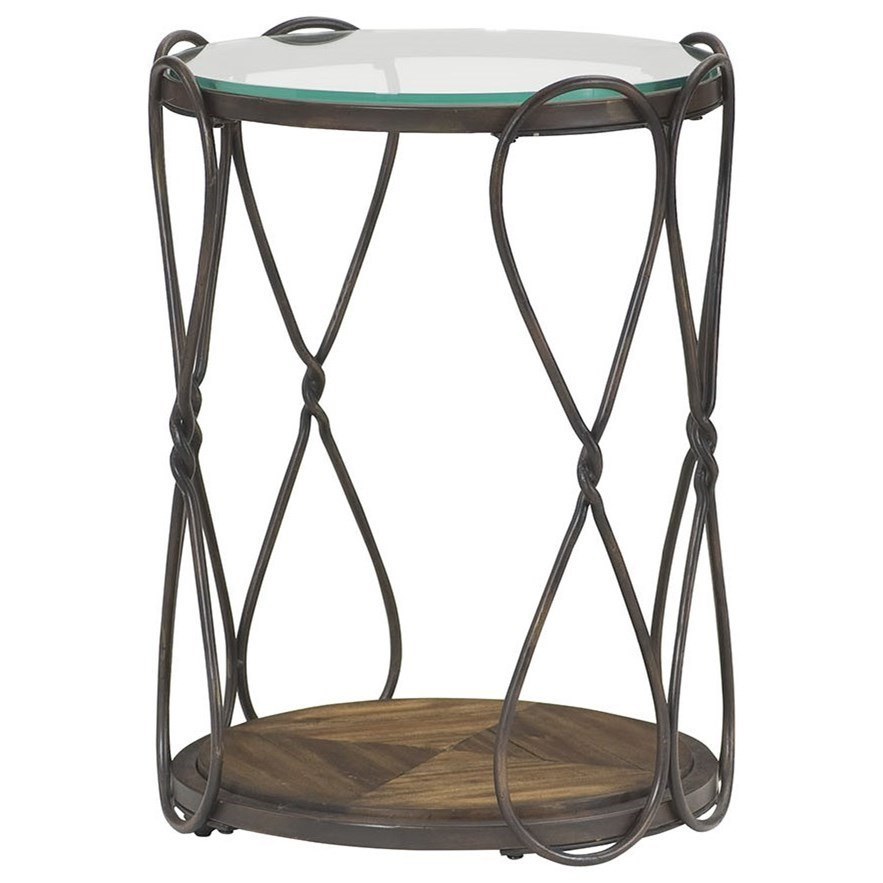 Hammary Hidden Treasures Round End Table With Tempered Glass Top