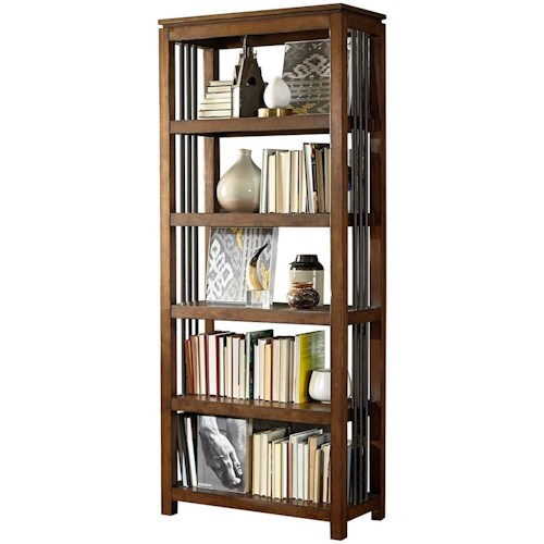Hammary Hidden Treasures Five-Shelf Bookcase with Metal Side Accent Rods
