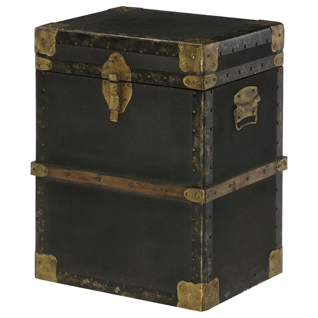 Travel Trunk End Table with Metal and Leather Accessories