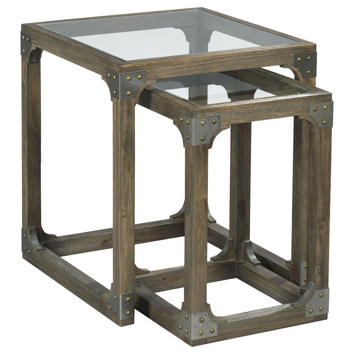 Hammary Hidden Treasures Rustic Nesting Tables With Tempered Glass Tops