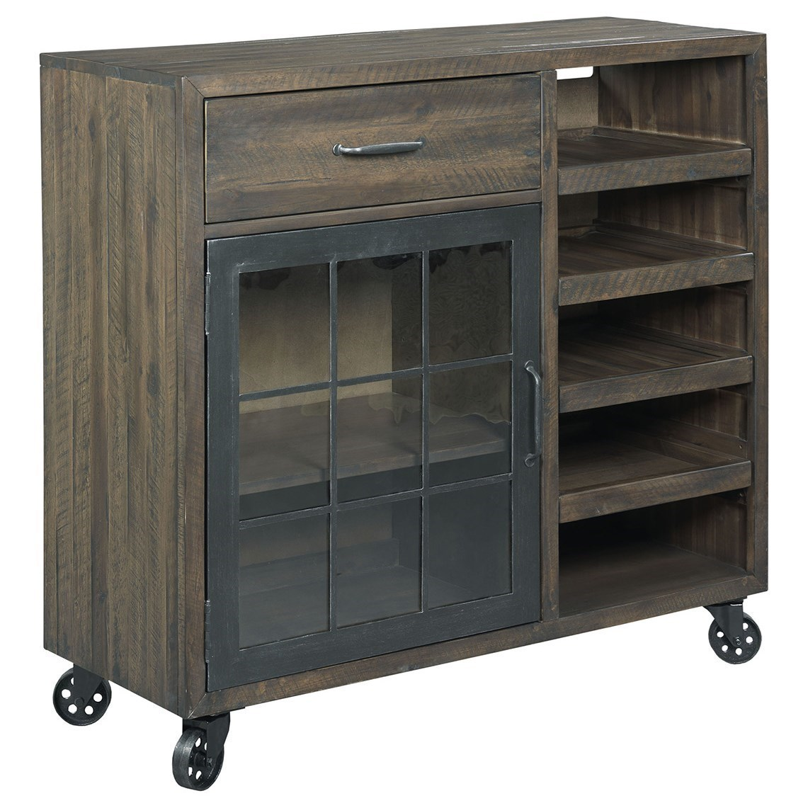 Rustic Bar Trolley with Metal Casters
