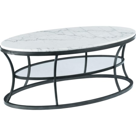 Oval Cocktail Table with Marble Top