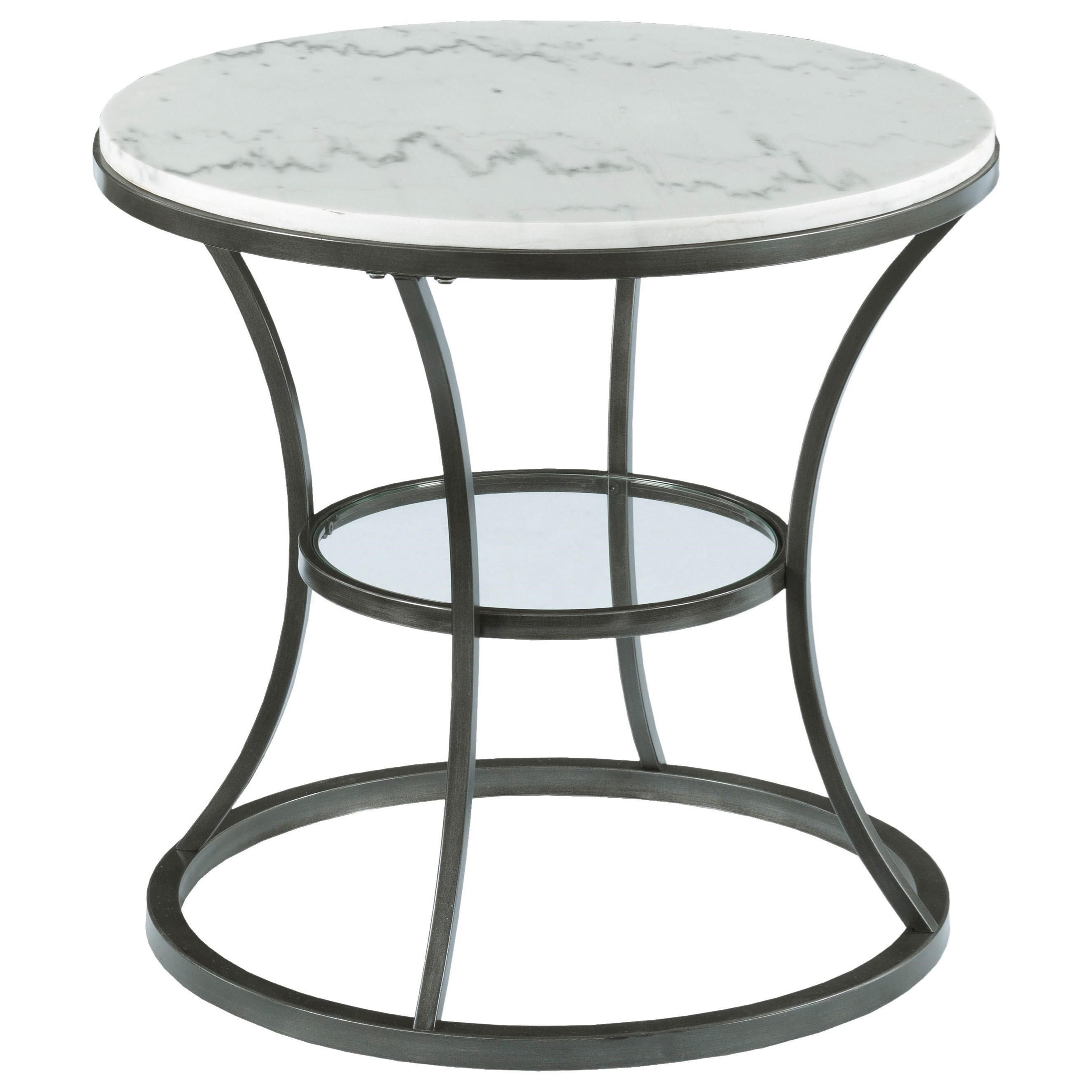 Hammary Impact Round End Table With Marble Top And Glass Shelf